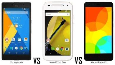 Photo of YU Yuphoria vs Xiaomi Redmi 2 vs Motorola Moto E(2nd Gen) Comparison