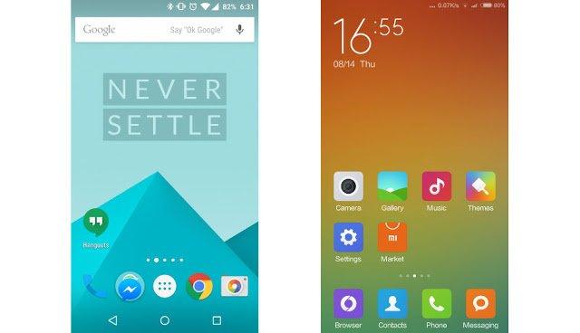 OnePlus 2 vs Xiaomi Mi5: UI