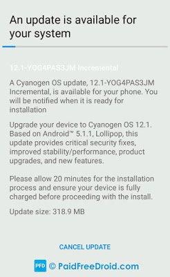Cyanogen OS 12.1 OTA