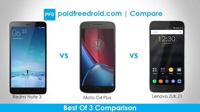 Xiaomi Redmi Note 3 vs Moto G4 Plus vs Lenovo Zuk Z1: The Best Of 3 Comparison