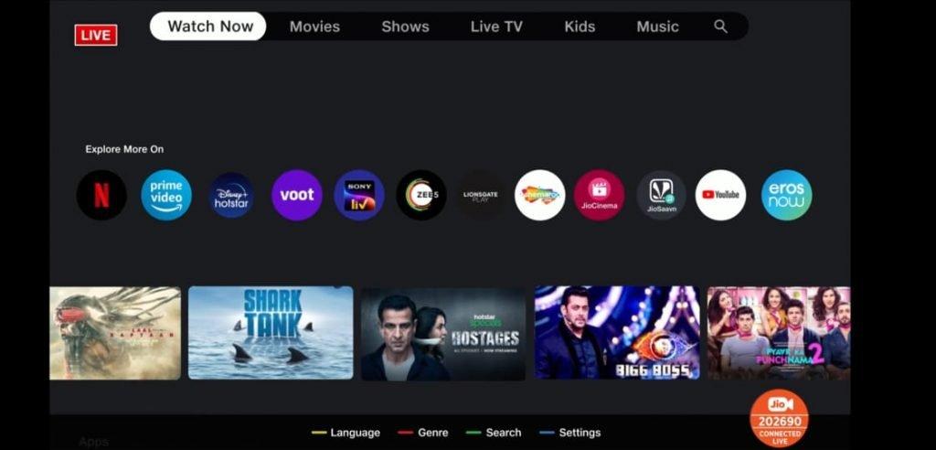 Jio TV+ Home
