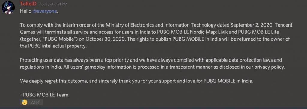 PUBG Mobile Shutdown Discord Post
