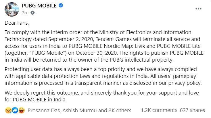 PUBG Shutdown India FB Post