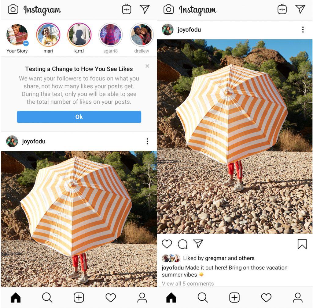 Instagram Likes Hide Feature