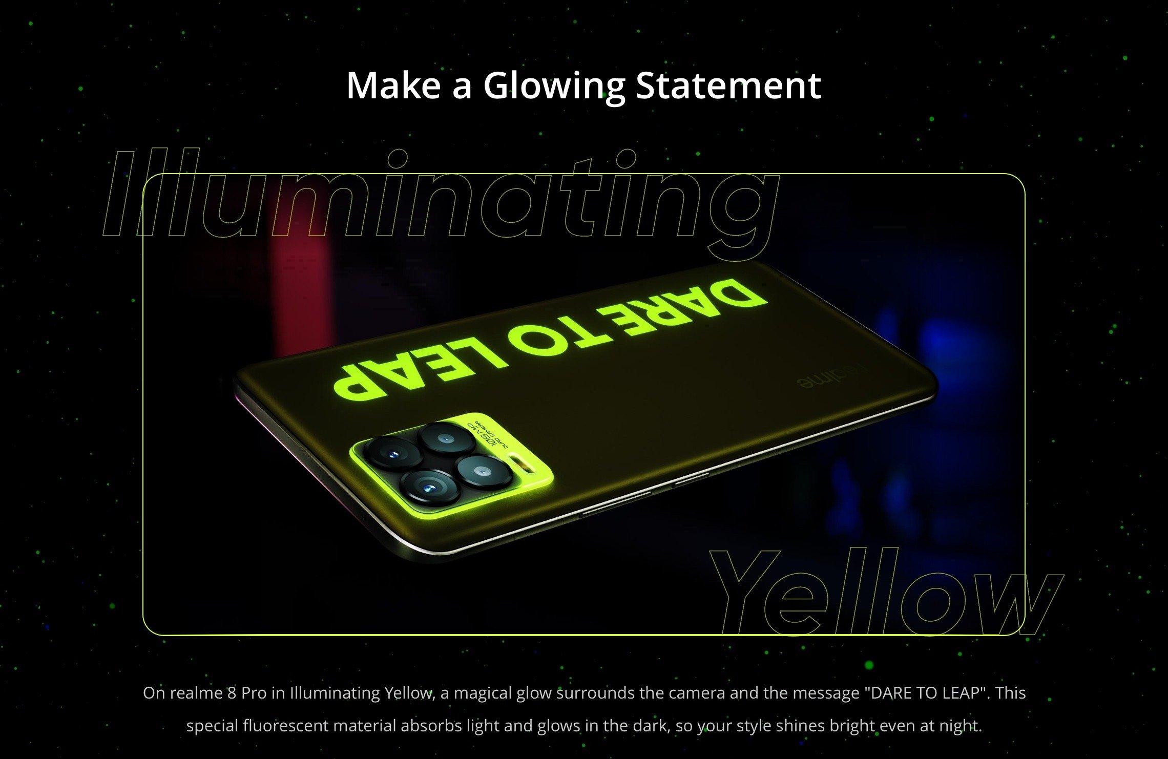 Realme 8 Pro Illuminating Yellow Demo