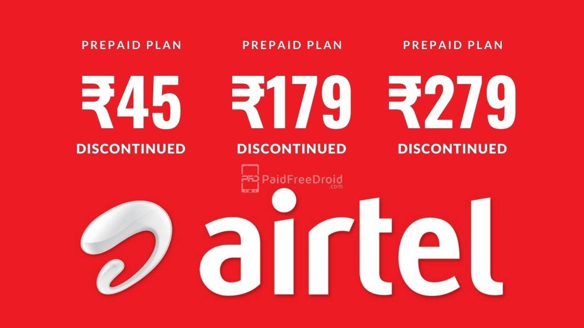 Airtel Prepaid Plans Discontinued