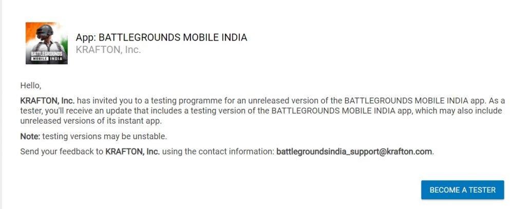 Battlegrounds Mobile India BGMI Early Access Testing Program